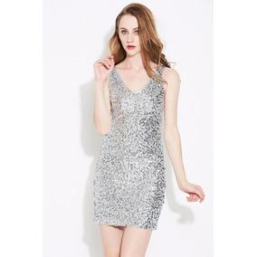 Moda Vestido De Lentejuelas Cuello V Profundo Vestido Noche