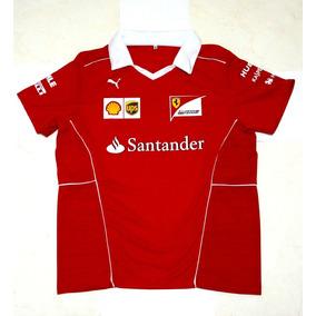 Camisa Camiseta Polo Gola V Ferrari Santander F1 2018