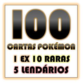 Lote 100 Cartas Pokémon 1 Ex 10 Raras 5 Lendários Português