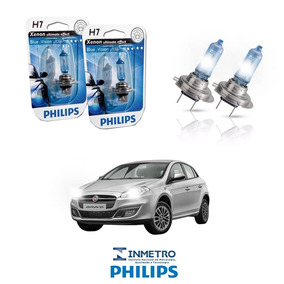 Lâmpadas Farol Baixo Fiat Bravo 98-13 H7 Bluevision Philips