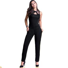 Palazzo Jumpsuit Pantalon Mujer Dama Negro 71337 Vicky Form