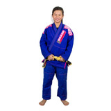 Kimono Infantil Jiu Jitsu Azul/rosa + Faixa Cinza - M2