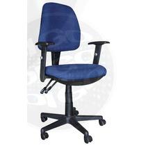 Cadeira Com Rodinhas E Apoio Para Braços Office Td Azul