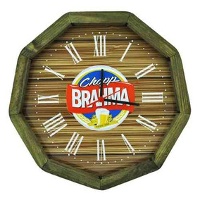 Relogio Brahma Madeira Pinus Area De Lazer
