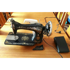 Maquina De Costura Singer Antiga Com Pedal E Motor Funcio.