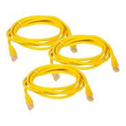 Paquete 3 Cables Red P/internet Ethernet Rj45 1.5 M Amarillo