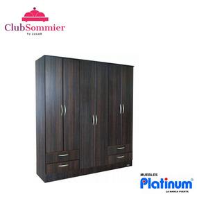 Placard Platinum 6 Puertas Y 4 Cajones Blanco/cedro/tabaco