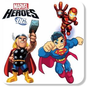 06 Adesivos Super Heróis Marvel Kids Mais Nome De Brinde