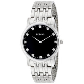Bulova Mens 96d106 Diamond-accented Stainless Steel Watch