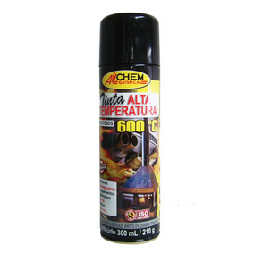 Tinta Spray Alta Temperatura, Preto- 300ml, 600°c - Allchem