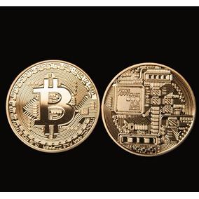Bitcoin Moeda Física - Banhada A Ouro (5 Unidades)