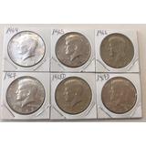 Medio Dolar Kennedy 1964 1965 1966 1967 1968 1969 Plata
