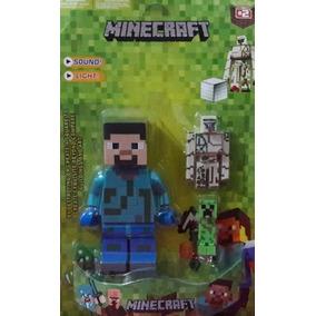 Boneco Minecraft 3 Peças Com Luz E Som