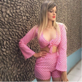 Conjunto Cropped Blusa Colada E Sort Cintura Alta Festa #cj2