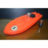Juguete Antiguo Lancha Plastico A Motor - A Pila Antex Roja
