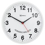 Relógio De Parede 26 Cm Branco Anti-horário Original Herweg