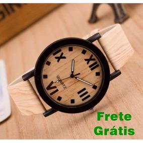 Relógio Feifan Pulseira De Couro Cor De Madeira