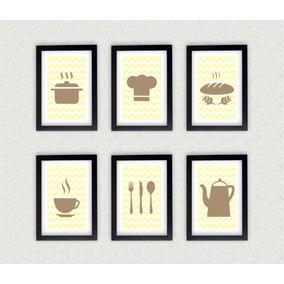 Kit Com 6 Quadros Decorativos Cozinha + Moldura Laqueada