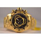 Relógio Masculino Caixa Grande Dourado Pulseira Aço