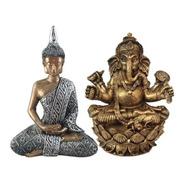 Buda Hindu Tailandês + Deus Ganesha Estatua Resina Decoracao