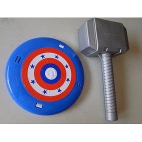 Aqui Fantasia Infantil Martelo Thor E Escudo Capitão America