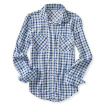 Camisa Manga Larga Aeropostal Dama Estilo 9737 Azul