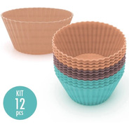 Molde Silicone Forma Para Cupcake Muffin 5cm 12pçs Ecolumi