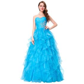 Vestido Azul Bordado Longo Festa 15 Anos Debutante Princesa