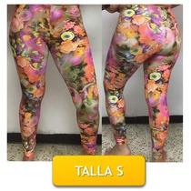 Pantalon Leggins Licras Estampado De Flores Talla S Mor05s