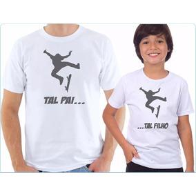 Kit 2 Camisas Personalizadas Tal Pai Tal Filho Skatista
