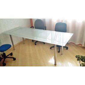 Mesa P/ 6 Cadeiras P/ Sala De Jantar Cromada Com Vidro