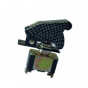 Switch Interruptor Tipo Avion 12v Fibra De Carbón 3