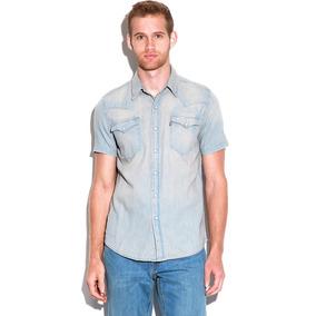 Camisa Levis Manga Corta Mezclilla Azul Claro Western Caball