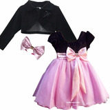 Vestido Infantil Princesa Rosa Luxo Barbie Minnie E Bolero