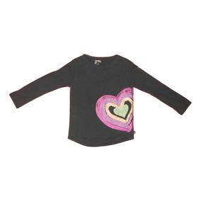 Baby Gap Playera Negra Con Corazón Para Niña Talla 4 Años