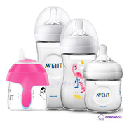 Kit Set De 3 Teteros Avent Natural 2.0 + Vaso Pinguino