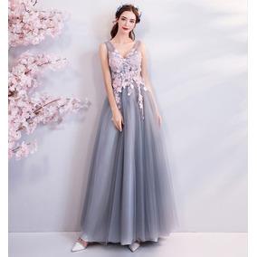 Vestido De Formatura Cinza - 34 36 38 40 42 44 46 - Va00217