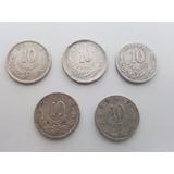 5 Monedas De Plata - 10 Ctvs - 1883 1889 1893 1894 Y 1904