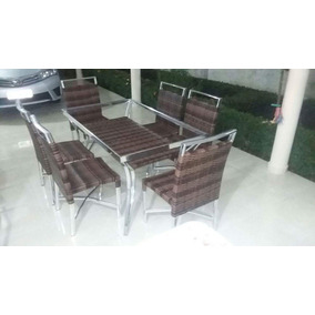 Mesa Com 6 Cadeiras, Alumínio,fibra Sintética,l