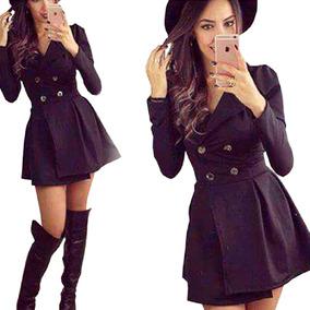 Vestido Sobretudo Em Jacquard Botão Moda Outono Inverno