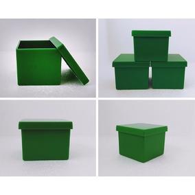 300 Caixinhas De Acrílico 4x4x3,3cm Verde Escuro