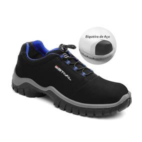 Sapato De Segurança Microfibra Estival Energy Preto Azul