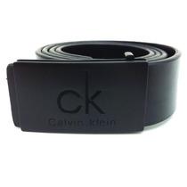 Cinto Calvin Klein Ck Masculino Em Couro Com Fivela Preta