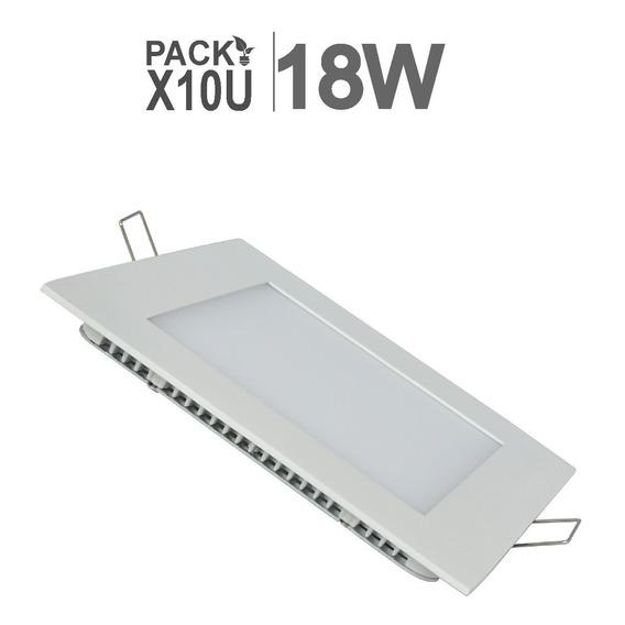 Panel Led  18w Embutir Cuadrado Pack X 10 U