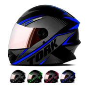 Capacete Moto Protork R8 Fechado Viseira Espelhada Loi