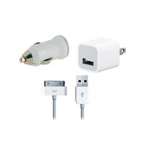 Kit 3 En 1 Iphone 4 Cargador Pared Y Carro Cable