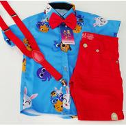 Conjunto Infantil Temático Luxo Bolofofos Azul E Vermelho