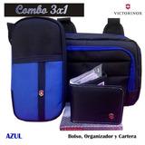 Combo Victorinox 3 En 1 Organizador, Bolso Y Billetera