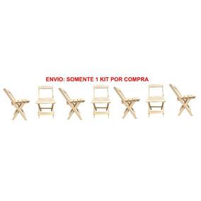 Kit 7 Cadeiras Dobrável Para Bar Madeira Maciça Natural