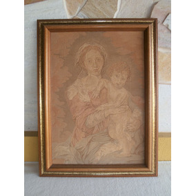 Antigo Gobelin Nossa Senhora E Menino Jesus